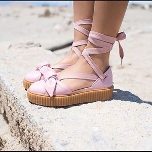 NEW Puma Fenty Lace Up Bow Creepers Pink